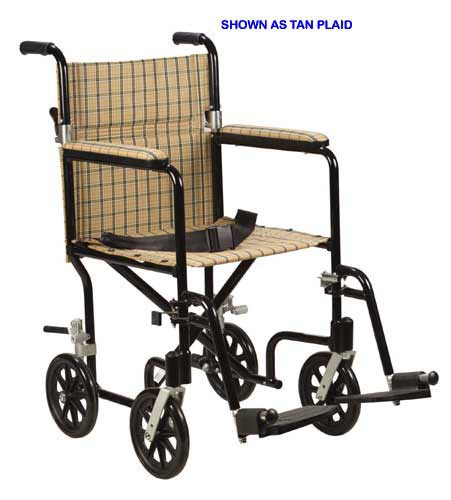 Aluminum Transport Chair-17 Tan Plaid/ Designer Fly-Weight