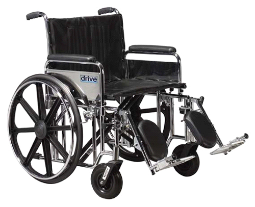 Wheelchair Ex. Hvy Duty 24 Det Full Arms & S/A Footrests