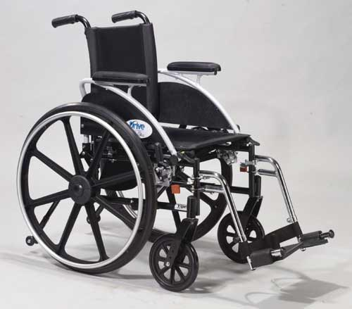 Wheelchair Ltwt Deluxe K-4 w/Flip-Back Rem Full Arms 16