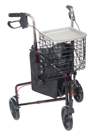 Rollator 3-Wheeled w/Pouch & Basket Loop Brake -Flame Red