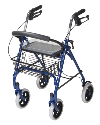 4 Wheel Steel Rollator w/8 Casters & Basket- Loop-Blue