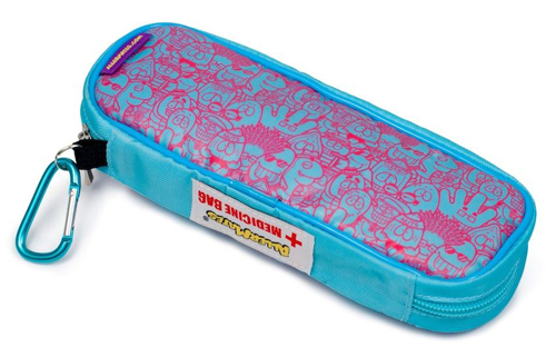 AllerMates EpiPen & Allergy Medicine Carry Case:Pink/Blue