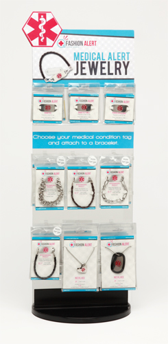 Fancy ID Bracelet & Necklace Display w/36 Items