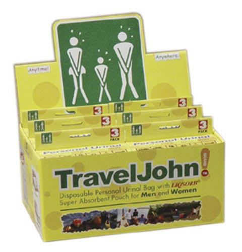 Travel John Disp Urinary Pouch Display (6-3 Packs)