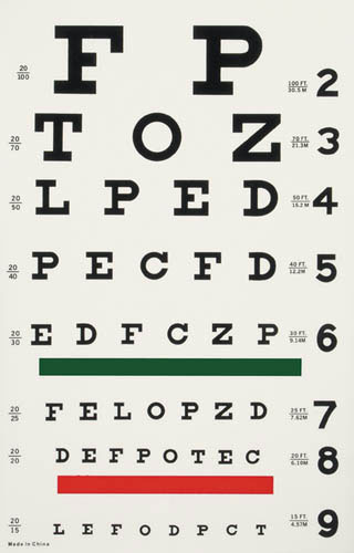 Illuminated Eye Chart-Snellen 20' Distance