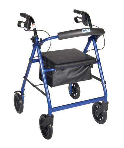 Rollator Aluminum w/Fold-Up & Removeable Back Padded Seat