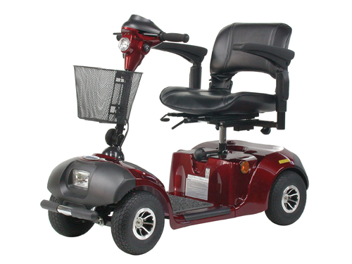 Daytona 4 Scooter Red 4-Wheel Standard Size Electric