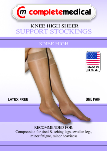 Ladies' Shr Moderate Supprt Lg 15-20mmHg Knee Highs Beige